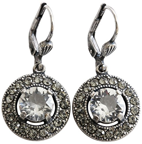 Catherine Popesco Silvertone Round Crystal Border Earrings, Clear Grey -