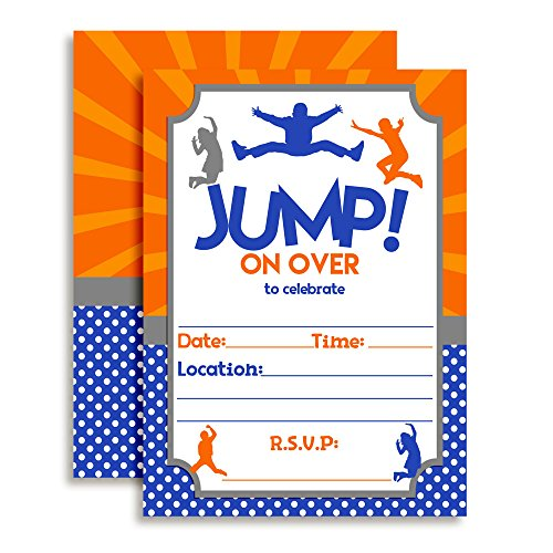 Jump Zone Bounce and Play Trampoline Park Jumping Birthday Party Invitations, Ten 5''x7'' Fill In Cards with 10 White Envelopes by AmandaCreation by Amanda Creation