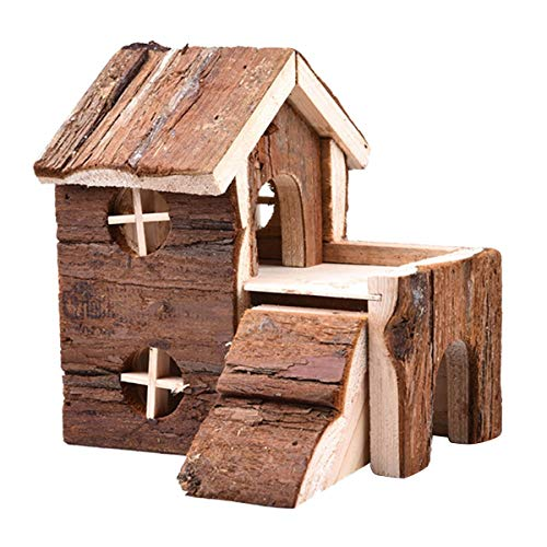 Hamster Wooden House Double Layers Hideout Hut for Dwarf Hamster Mouse Rat Gerbil (L)