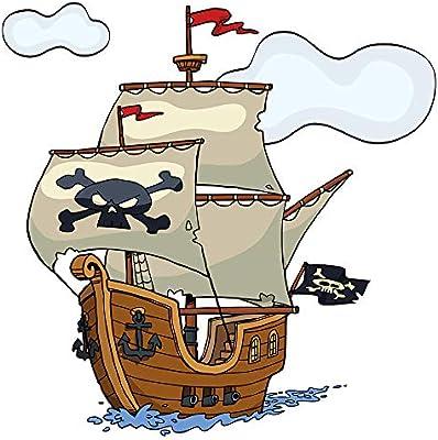 Pegatina de pared cuarto de los niñosBarco pirata con velas de cráneo y banderas adhesivo barco a pegar pared barco adhesivo mar adhesivo océano marítimo: Amazon.es: Bebé