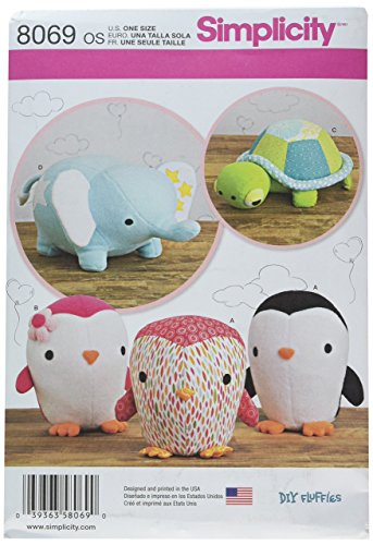 Simplicity Creative Patterns US8069OS 8069 Stuffed Penguins/Turtle/Elephant, One -