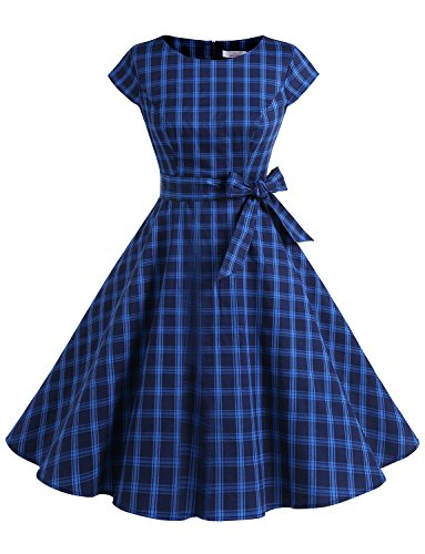 Dressystar Women Vintage 1950s Retro Rockabilly Prom Dresses Cap-Sleeve XS Navy Grid