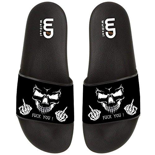 Funny Skull Fu-k You Finger Print Summer Slide Slipper for Men Women Indoor Outdoor Open-Toe Beach Shoes by OriginalHeart