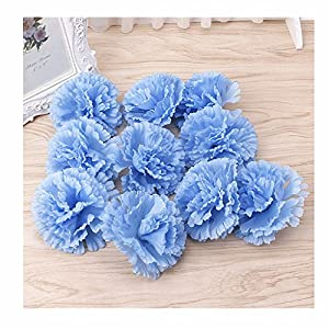 BecauseOf Artificial Carnation Flower Heads Floral DIY for Garden Party Wedding Home Decor, Pack of 10 (Sky blue) 46