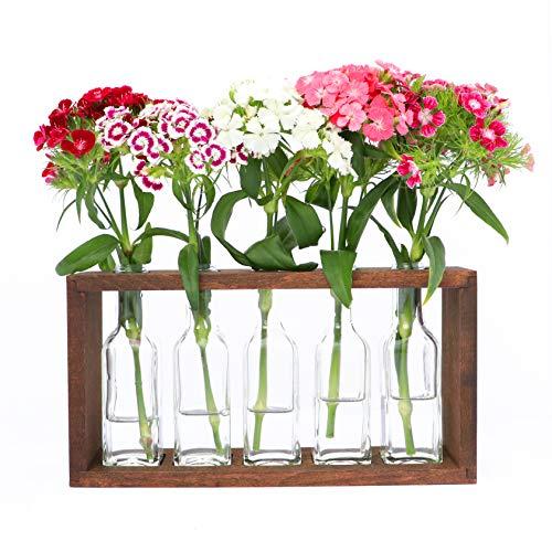 (The Mammoth Design Flower Vases Bud Pots in Wooden Rack | Rustic, Vintage Home Decor | Windowsill Accessory, Wedding, Kitchen, Dining Table Centerpiece)