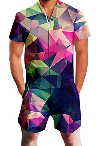 Men's Rompers Male Zipper Jumpsuit Shorts Rainbow Diamond Geometry Printed One Piece Slim Fit Outfits Bro Short Sleeve Overalls