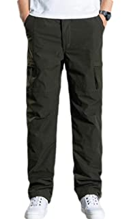 Spirio Mens Cotton Solid Color Multi Pockets Plus Size Utility Casual Cargo Pants