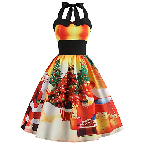 Christmas Women Dress Sexy Vintage Halter Print Bodycon Sleeveless Casual Prom Swing Dress