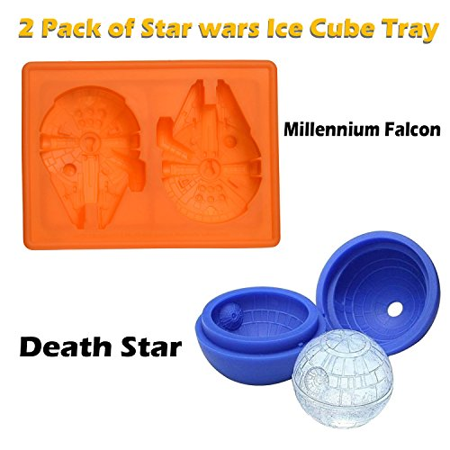 Millennium Falcon and Death Star Silicone Ice Tray Star Wars Candy Mold Set / Chocolate Molds Ball Whiskey Baking for Christmas Birthday Lovers Party
