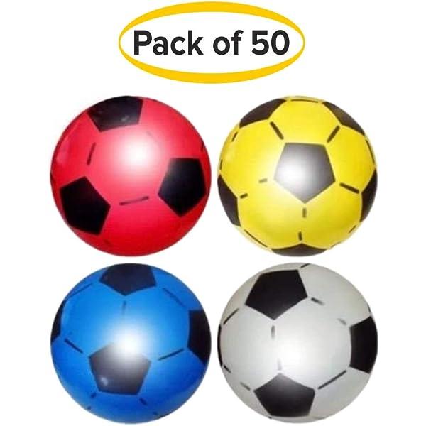 Paquete de 6) Fútbol de plástico PVC para niños Pelota de fútbol ligera y ajustable Pelota inflable para jugar en interiores y exteriores Playa, casa, cumpleaños y fiestas Colores variados: Amazon.es: Deportes