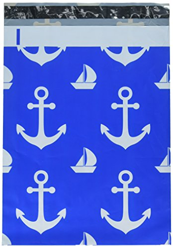 (Poly Mailers Nautical Anchor & Sailboat Designer Mailers Shipping Envelopes Blue Boutique Custom Bags #SmileMail (100 10x13))