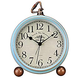 Tenco 5.5 inch Vintage Retro Decorative Desk Alarm Clocks,Non-Ticking Easy to Read Large Display Mantel Clock