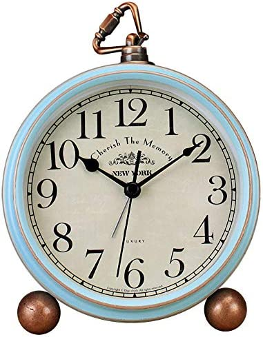 xihaiying 5.5 inch Vintage Retro Decorative Desk Alarm Clocks,Non-Ticking Easy to Read Large Display Mantel Clock Blue