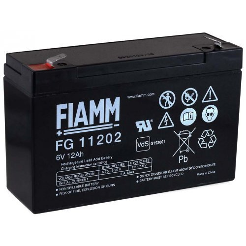 FIAMM Batteria ricaricabile da cambio per Scooter carrozzelle scooter elettrico auto elettrica 6V 12Ah (sostituisce anche 10Ah) Powery G1.86.FIA.1.18E