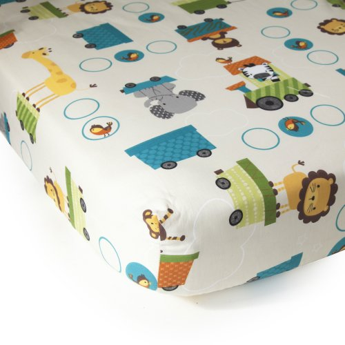 Bedtime Originals Crib Fitted Sheet, Choo (Toddler Bed Fitted Sheet)