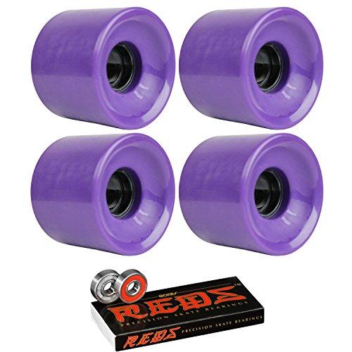 TGM Skateboards Longboard Cruiser Wheels 62mm x 51.5mm 83A 267C Purple Bones Reds Bearings (62mm Wheels Skateboard)