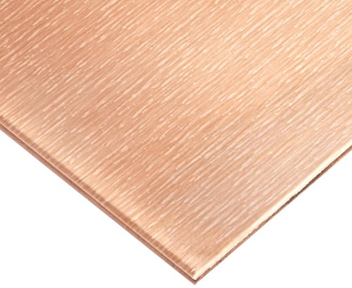 110 Copper Sheet, Unpolished (Mill) Finish, H02 Temper, ASTM B152, 0.097'' Thickness, 12'' Width, 12'' Length, 13 Gauge by Small Parts