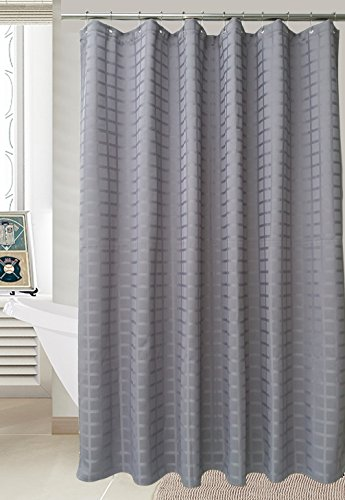 Waffle Weave Shower Curtain Fabric - Hotel Luxury, Heavy Duty, Water Repellent - Grey (Gray) - 70