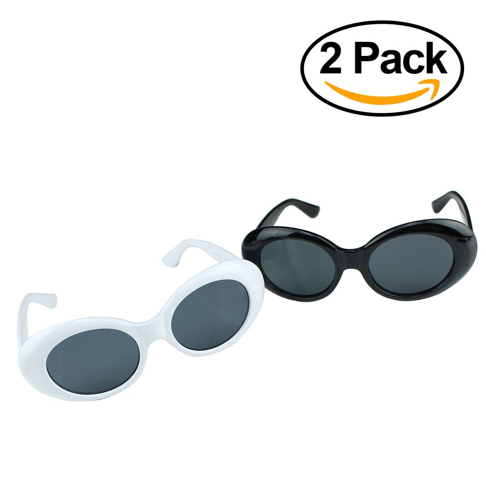 2 Pack Clout Goggles White and Black, Hypebeast Design, Carrying case Included, Reinforced Metal Hinges, Clout Glasses, Kurt Cobain Inspired