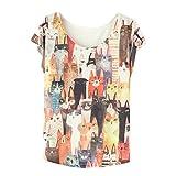 Hot Sale! Sunfei Women Printed Loose Casual Short Sleeve Bat T-shirt Tops (C)