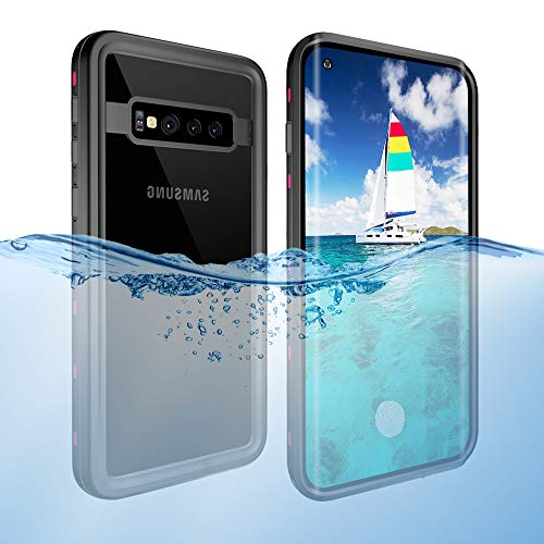 Galaxy S10 Waterproof Case, Dooge IP68 Certified Snowproof/Shockproof/Dirtproof Fully Sealed Underwater Fullbody Heavy Duty Protective Case with Screen Protector Fingerprint ID for Samsung Galaxy S10 ()