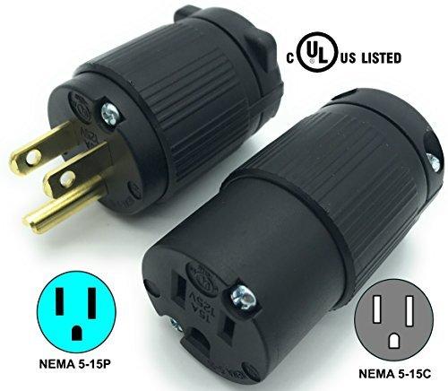 Journeyman-Pro 515PC Plug & Connector Set 15 Amp 120-125 Volt, NEMA 5-15P + 5-15C, 2Pole 3Wire, Straight Blade, Male & Female Replacement Cord End, Commercial Grade PVC Black (1)