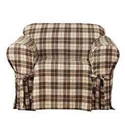 Sure Fit Soft Suede Plaid Corded Chair, Chocolate