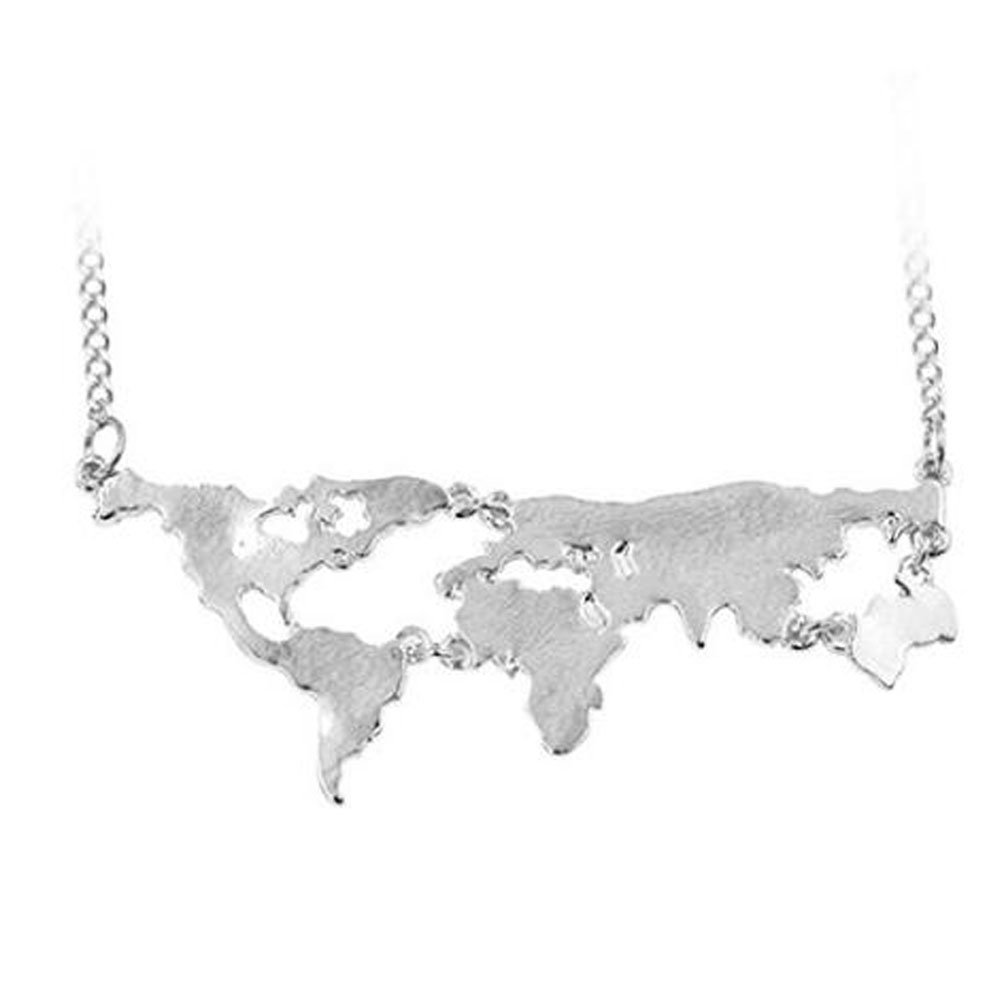 HiMeiping World Map Necklace World Continents Long Chain Charm Pendant Necklace Silver