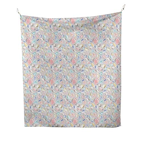 Diamondscool tapestryPastel Colored Cushion Baguette Square and Oval Shaped Design Star Filled Backdrop 57W x 74L inch Tapestry for -