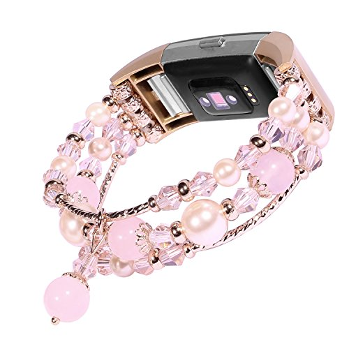 Tomazon for Fitbit Charge 2 Bands, Fashion Replacement Bracelet with Elastic Stretch Handmade Beaded Pearl Band for Women Girls Female, Pink, Gray, (Pearl Sports Wrist Watch)