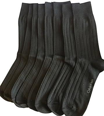 Calvin Klein Men's Ribbed Dress Socks Pack of 4 Black