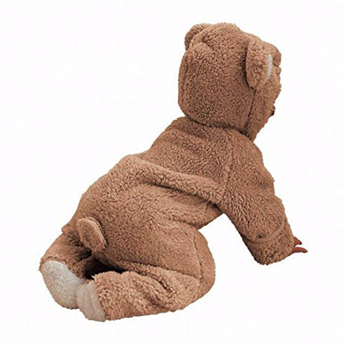 by Boys Girls Fleece Winter Rabbit Bear Romper Snowsuit Clothes (24M, Brown 1) (Dotted Knit Dress)