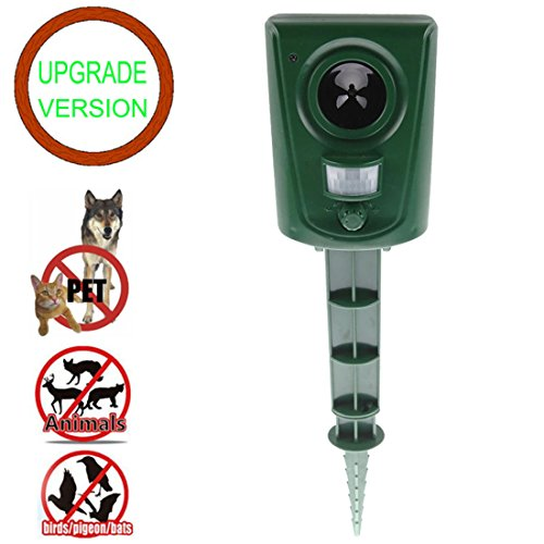 DAMAIJIA [Upgrade] animal Repeller Ultrasonic Repellent Outdoor Electronic Pest Control with Motion Sensor For Repelling Raccoon Dogs Cats Chipmunk Deer Rabbits Birds.Nontoxic (Raccoon Repellent)