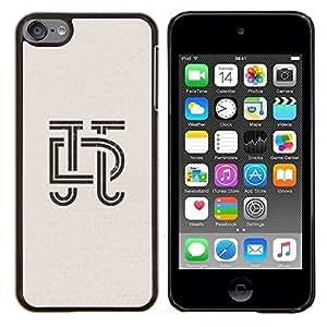 KLONGSHOP // Cubierta de piel con cierre a presión Shell trasero duro de goma Protección Caso - art deco letras de caligrafía diseño insignia - Apple iPod Touch 6 6th Touch6 //