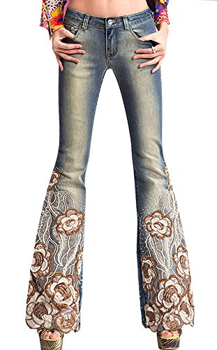 AvaCostume Womens Vintage Embroidery Bell Bottoms