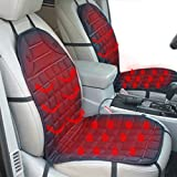 Heated Car Seat Cushions Pads with Temperature Control in Black 12V One Piece Front Seat Single Breathable
