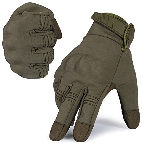 WTACTFUL Winter Windproof Warmer Touch Screen Military Rubber Hard Knuckle Tactical Gloves Full Finger Gloves for Cycling Motorcycle Hunting Snowboard Riding Bicycle Work Outdoor Green Size Medium