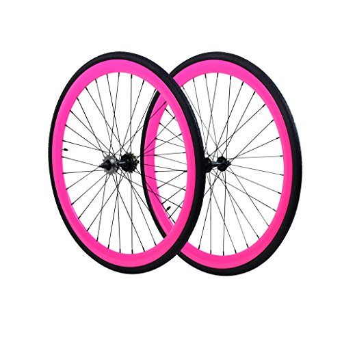 Fixie Wheels Fixed Gear, Flip-Flop Rear Wheels, Pink (Black Rims Pink)