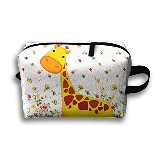 Lovely Giraffe Travel Bag Cosmetic Bags Brush Pouch Portable Makeup Bag Zipper Wallet Hangbag Pen Organizer Carry Case Wristlet Holder