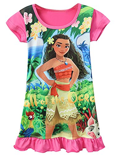 AOVCLKID Moana Comfy Loose Fit Pajamas Girls Printed Princess Dress (90/1-2Y, Rose 2) 3 Baby Doll T-shirt