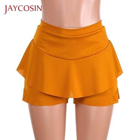 zysymx Falda con Volantes en Capas Falda de Cintura Alta Mini ...