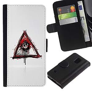 Be Good Phone Accessory // Caso del tirón Billetera de Cuero Titular de la tarjeta Carcasa Funda de Protección para Samsung Galaxy S5 V SM-G900 // Evil Bleeding Eye Illuminati
