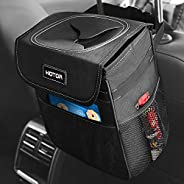 HOTOR Car Trash Can with Lid and Storage Pockets, 100% Leak-Proof Car Organizer, Waterproof Car Garbage Can, M