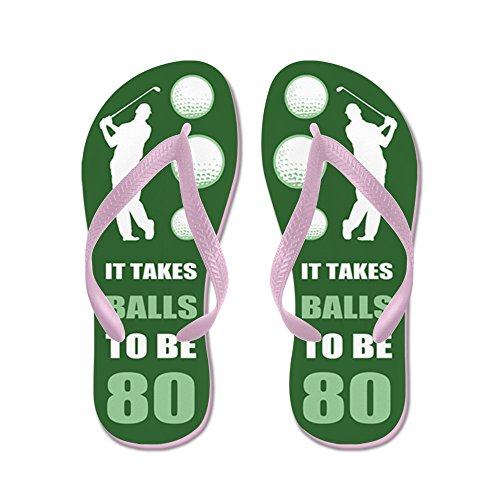 CafePress Funny Golf 80Th Birthday - Flip Flops, Funny Thong Sandals, Beach Sandals Pink
