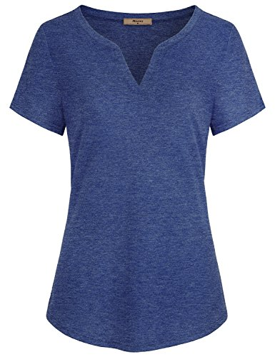 (Miusey Women Tops and Blouses, Ladies V Neck Short Sleeve Casual Cotton Comfy Henley T Shirt Tunic Blue Medium)