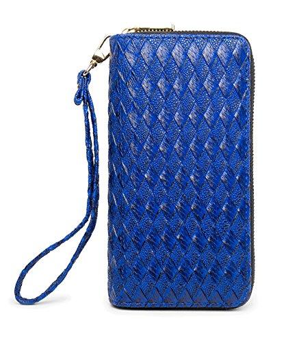 LIKESHE Women Deep Blue Braided Pattern Multifunctional Double Zipper Wallets(DeepBlue-BZW-24A8)