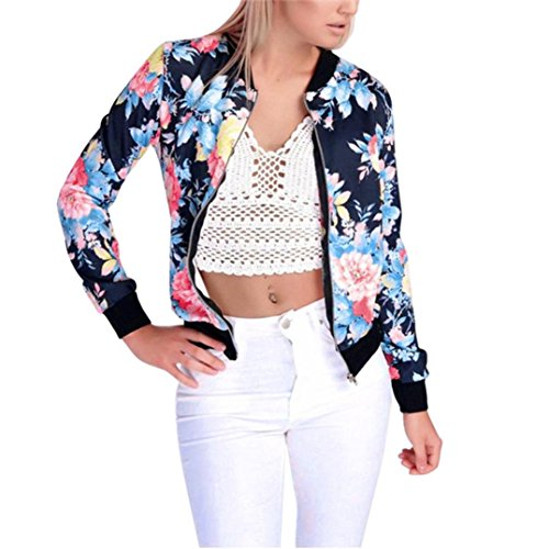 Gillberry Women Stand Collar Long Sleeve Zipper Floral Printed Bomber Jacket (G, L) ()