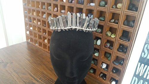 black quartz crystal crown, silver circlet, crystal diadem, boho bridal halo headpiece, crystal moon hair accessories, celestial wedding by The Queen of Quartz