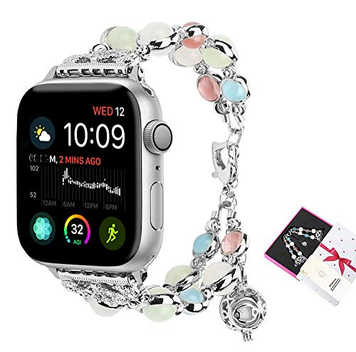 Chain Lobster Fashion Bracelet - ritastar for Apple Watch Bracelet Band,Handmade Beaded Wrist Bands Strap Jewelry with Fluorescent Pearls,Adjustable Heart Clasp,Perfume/Essential Oil Storage Pendant for Women Iwatch Series 4,3,2,1