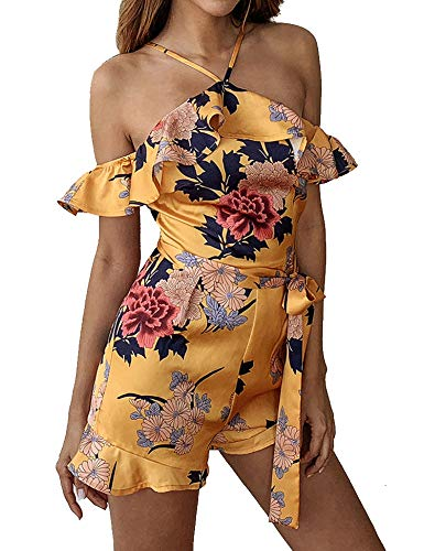 (Murimia Women's Summer Off Shoulder Ruffle Floral Print Strap Short Rompers and Jumpsuits)
